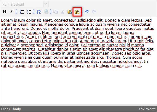 """""""Einfügen als einfachen Text aktivieren"""" im TYPO3 Texteditor"""